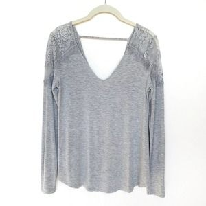 NWT AEO Lace Open Back Soft & Sexy Long Sleeve Tee Gray S